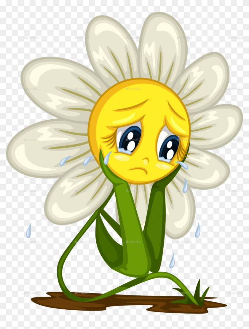 Cartoon Daisy Stickers For Different Situations Crying Flower