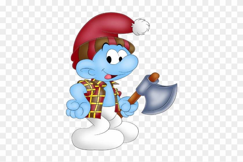 Funny Doctor Smurf Carrying Blue Axe - Cartoon #287443
