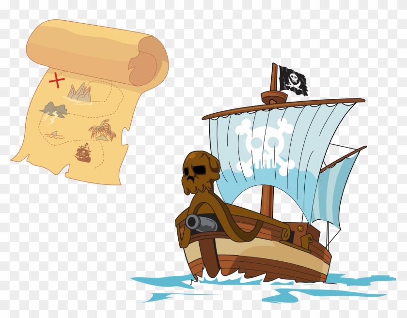 Treasure Island Piracy Treasure Map - Pirate Treasure Vector Png #287748