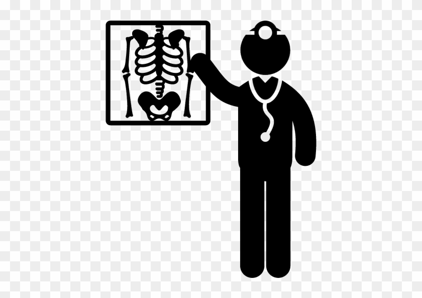 Medical Doctor Standing Beside X Ray Vector - X Ray Vector Icon #287796