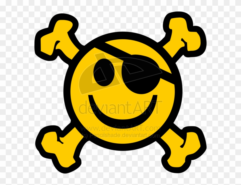 Crossbone Pirate Smiley By Pencilshade Clipart - Pirate Smiley #287971