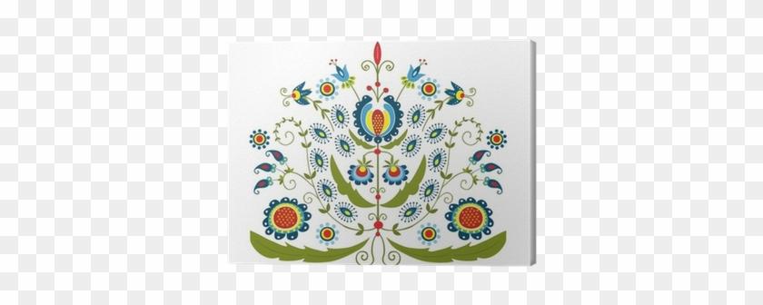 Cuadro En Lienzo Patrón Polaco Con Flores Decorativas - Folk Art #288130