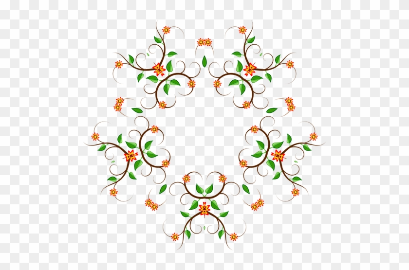Five Prong Color Floral Tree Design Vector Graphics - Vector Graphics #288131