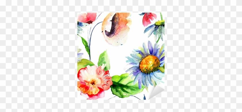 Vinilo Pixerstick Patrón Sin Fisuras Con Flores Decorativas - 120 X 40 Cm Tableau Déco Panoramique Fleurs En Peinture #288146