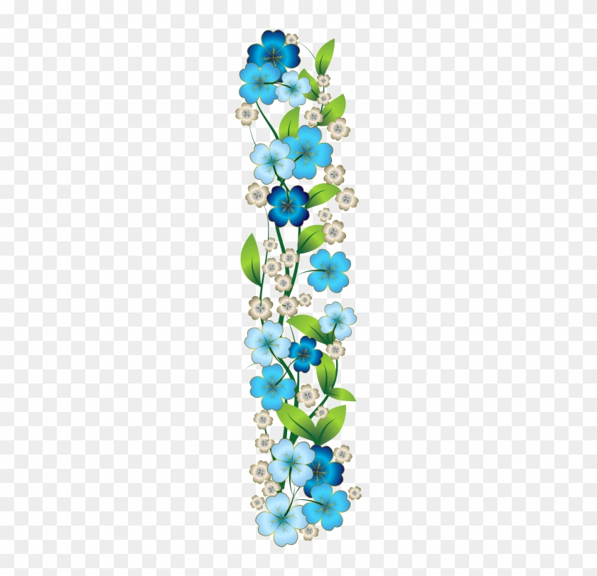Cenefas, Laminas Decorativas, Letras Decoradas, Mosaicos, - Blue Flowers Clip Art Border Png #288150