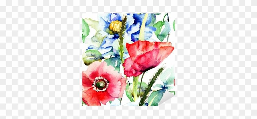 Vinilo Pixerstick Patrón Sin Fisuras Con Flores Decorativas - Guardanapos De Papel Papola Estampado 16 Cm Ilunato #288157