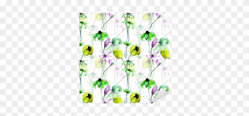 Vinilo Pixerstick Patrones Sin Fisuras Con Flores Decorativas - Morning Glory #288190
