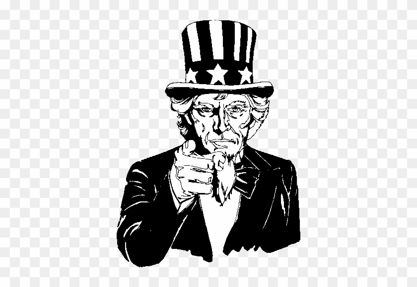 Image For Uncle Sam Pointing Black And White Clip Art - Black And White Uncle Sam #288194