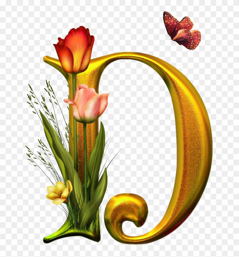 Bello Alfabeto Con Flores Y Mariposas - Letras Decoradas Con Flores Y Mariposas #288200