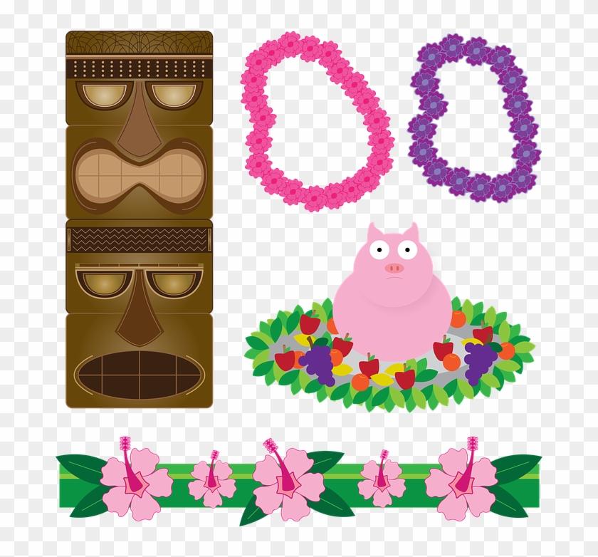 Hawaiian Luau Clipart 12, - Hawaii Luau Beach Towel #288215