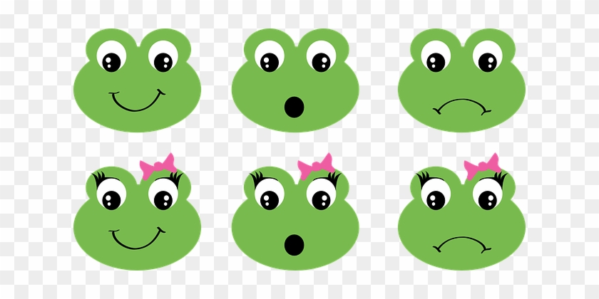 Frog Faces Girl Ribbon Bow Happy Surprised - Frog Face Clipart #288309