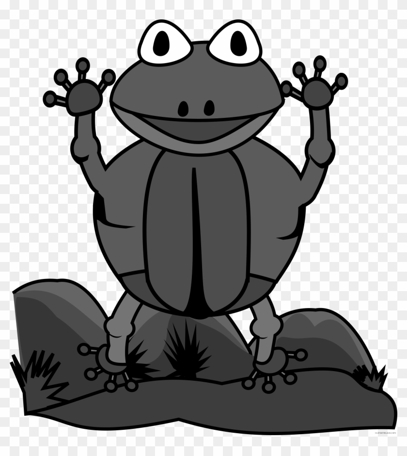Jumping Frog Animal Free Black White Clipart Images - Frog #288316