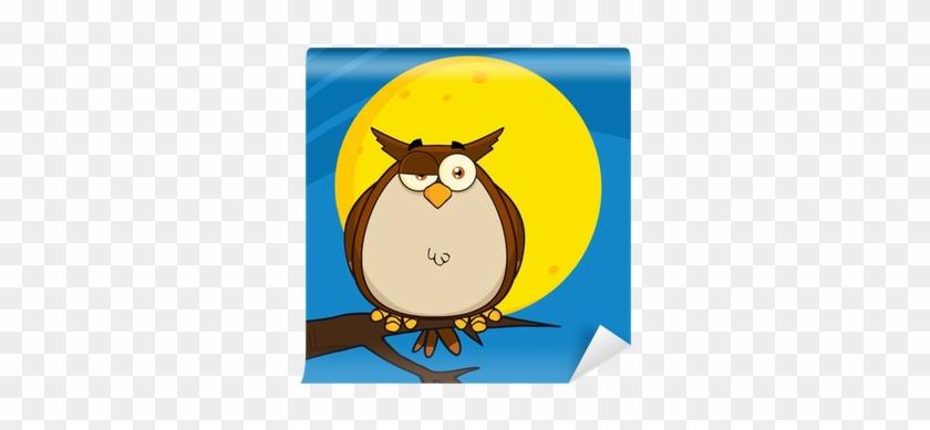 Owl Cartoon On Tree In The Night Wall Mural • Pixers® - Owl #288542