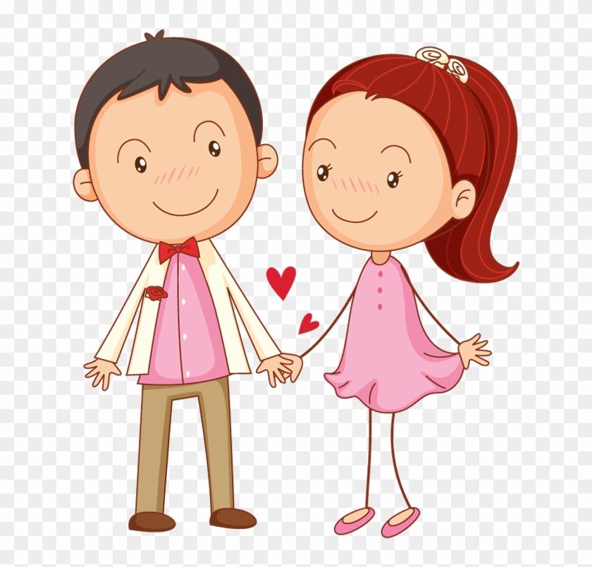 Cartoon Couple In Love Holding Hands - Boy And Girl Love Cartoon #288632
