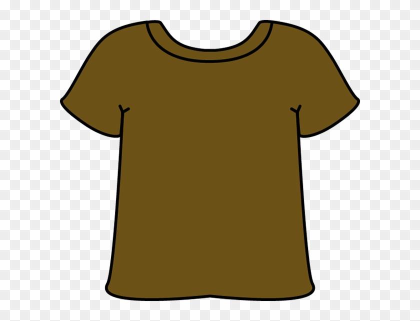 T Shirt Clip Art - Clip Art Brown T Shirt #288693