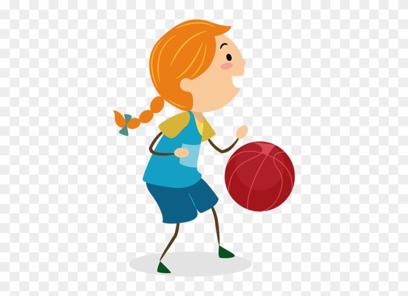 Wall Color - Cartoon Girl Playing Basketball Png #288966