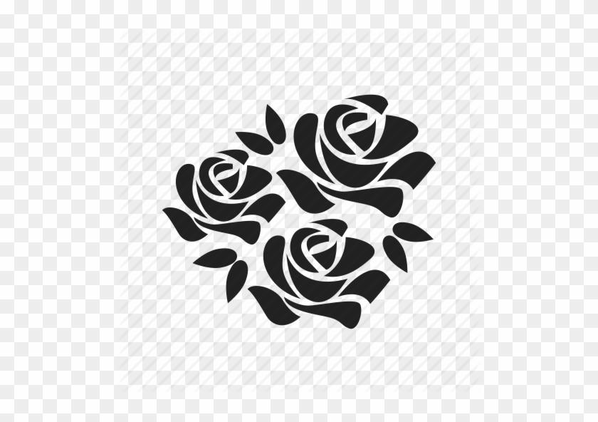 Flower Bouquet Icon - Schwarzes Blumentätowierungs- Und Küchentuch #288986