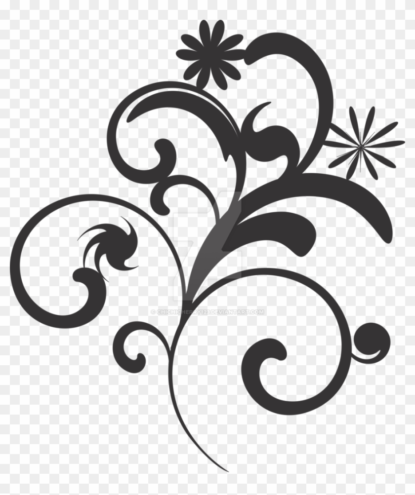 Flower Vector Black And White Png - Black And White Flower Vector Background #289049