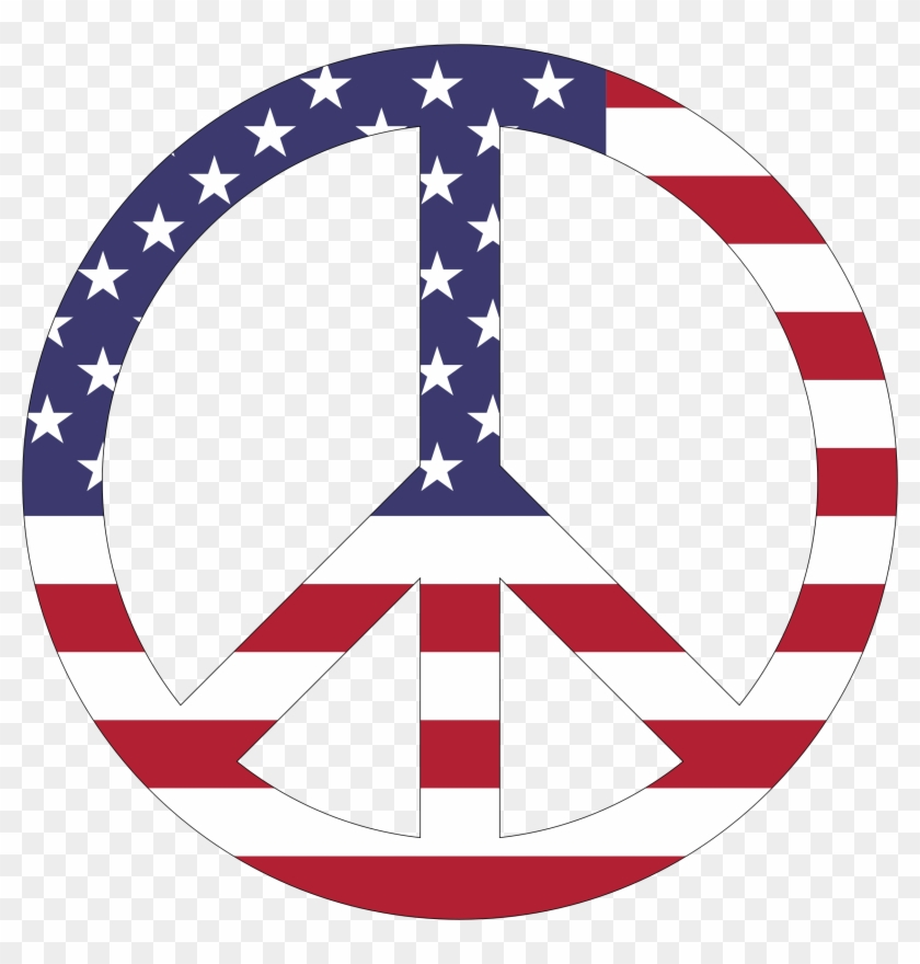 American Hippie Bohemian Psychedelic Art Flower Power - American Flag Peace Sign #289116