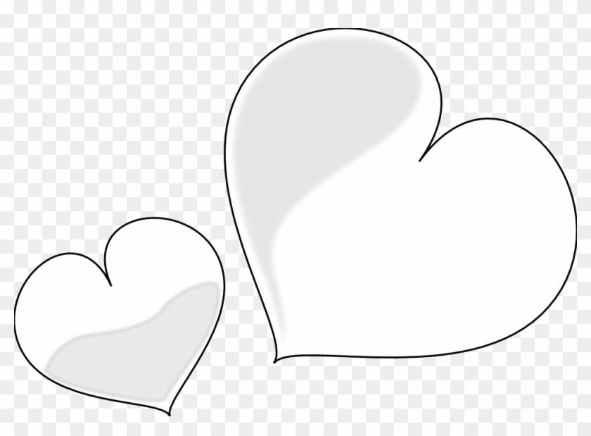 Net Clip Art Heart Glossy Two Black White Line - Clip Art Black Amd White Heart #289117
