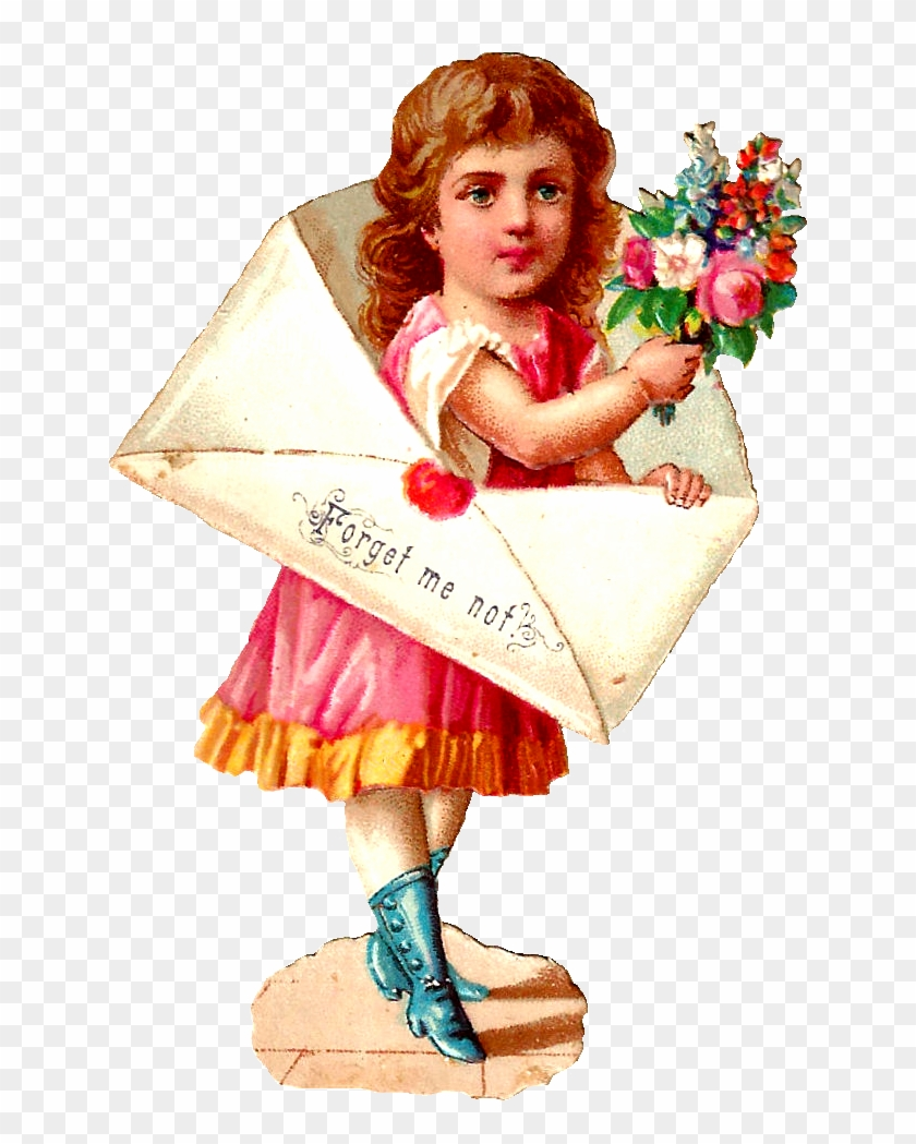Stock Girl Image Vintage - Girl Into Letter Bouquet Of Flowers Valentines Day #289220
