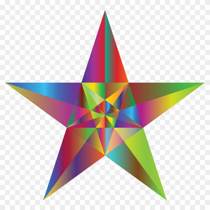 Free Clipart Of A Geometric Star Colorful - Perfect 5 Point Star #289225