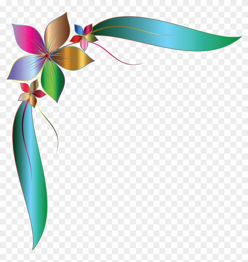 Free Clipart Of A Gradient Floral Corner Design Element - Corner Flower Design Png #289243