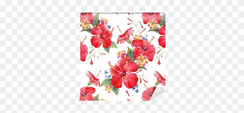 Watercolor Tropical Floral Vector Pattern Wallpaper - Hibiscus Watercolor #289258