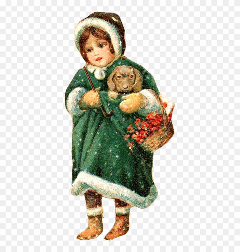 Vintage Christmas Girl Image - False Victorian Vintage Christmas 106 Printed Collage #289266