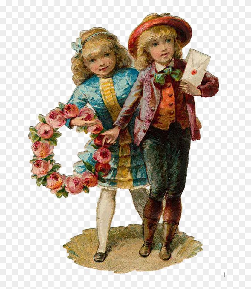 Vintage Victorian Christmas Die Cut Clip Art Day Eight - Kids Vintage Png #289284