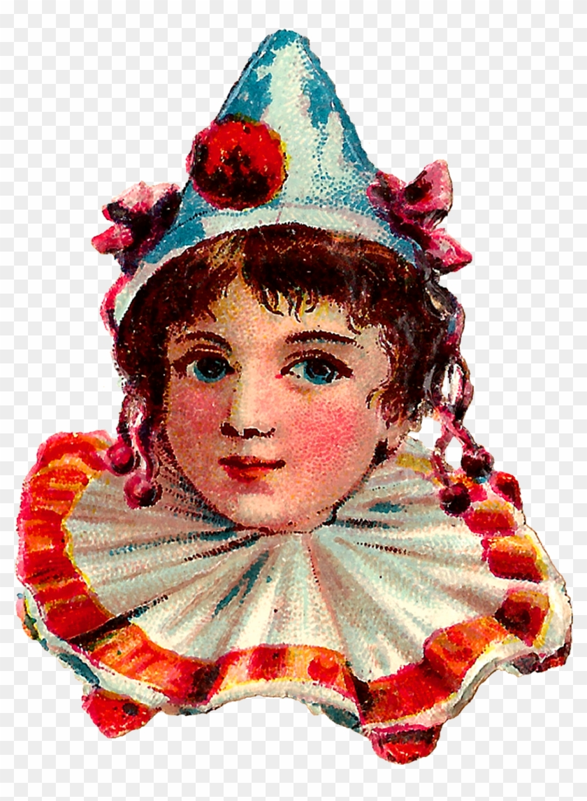 Each Vintage Clown Is Wearing A Pointed Hat With Pompoms - Vintage Circus Clown Clipart #289290