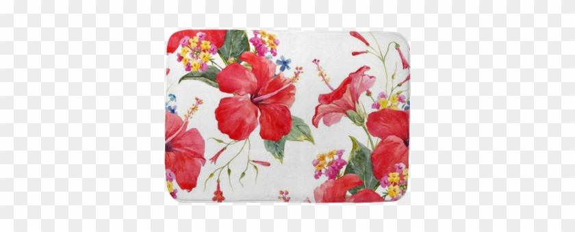 Watercolor Tropical Floral Vector Pattern Bath Mat - Watercolor Painting #289317