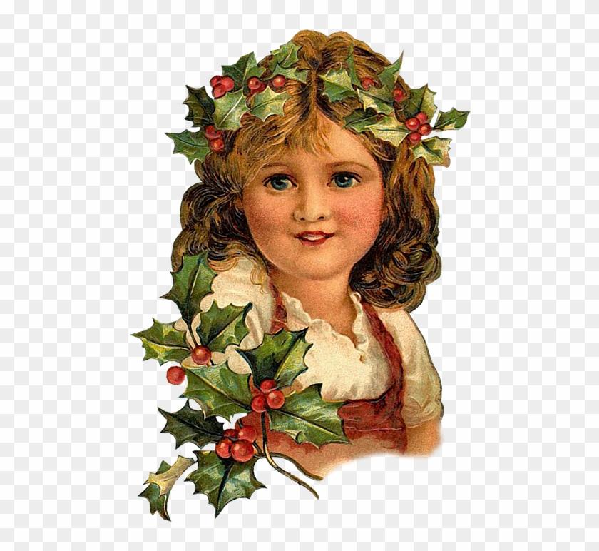 Vintage Victorian Christmas Girl Holly Leaves Postcard - Igc Coaster Set - 4 Pcs - Square - Designer Coasters: #289331