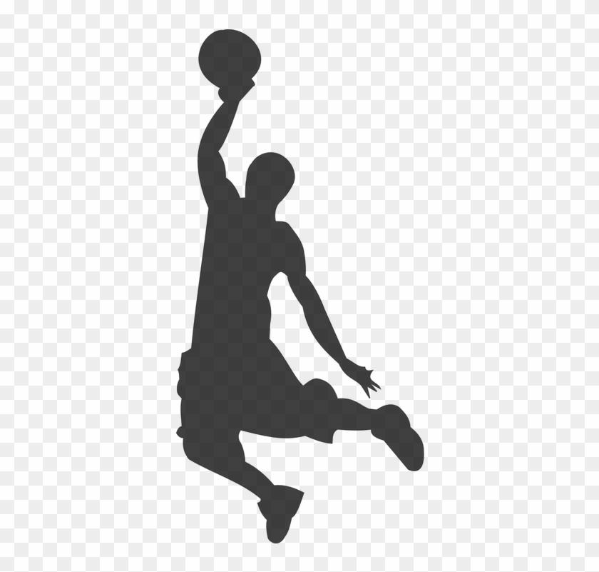 Silhouette, Basketball, Player, Jump, Score, Slam, - Basketball Clip Art #289349