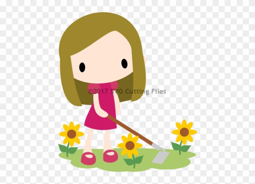 Chibi Sunflower Girl With Hoe - Chibi #289363