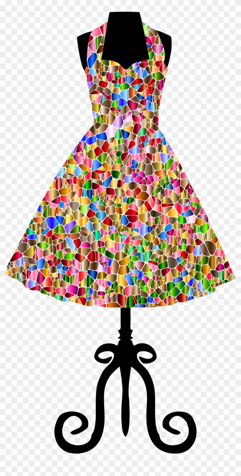 Tiled 1950s Vintage Dress - Vintage Dress Png #289403