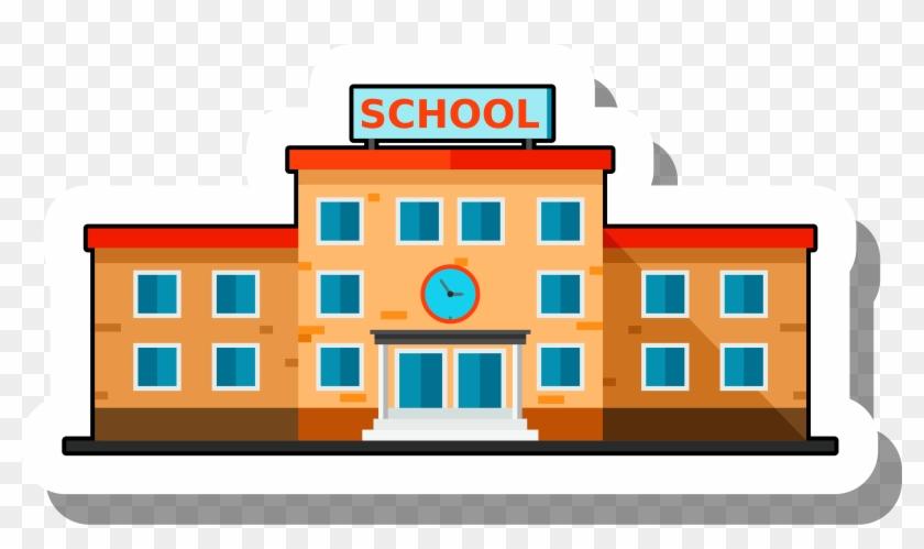 School Building Escuela Ilration Cartoon Stickers - Cartoon School Building Clipart #289479