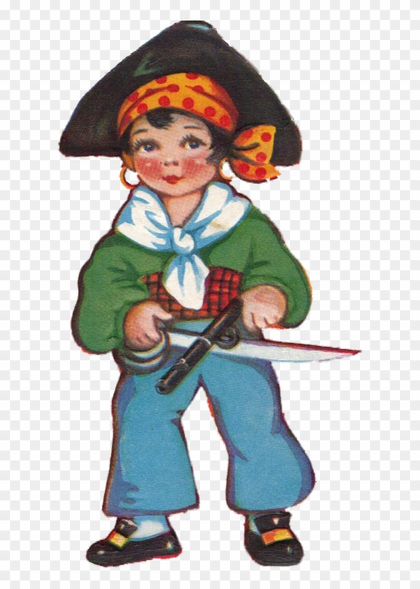 Vintage Valentine Pirate With Weapons - Vintage Karte Des Valentines Tagesmit Piraten #289544