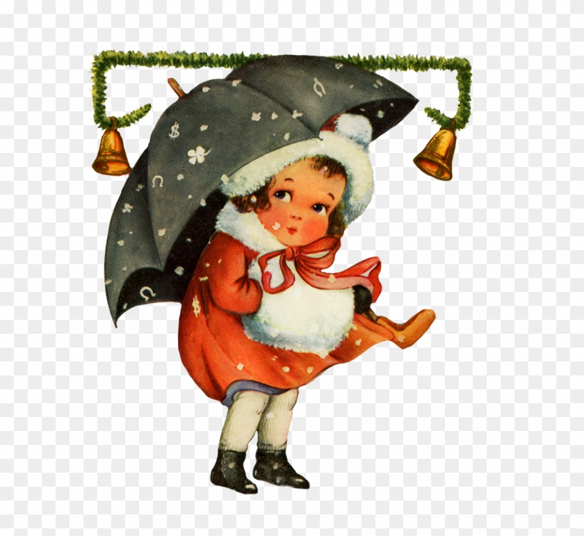 Vintage Christmas Clip Art Girl Snow - Vintage Christmas Update Clip Art #289546