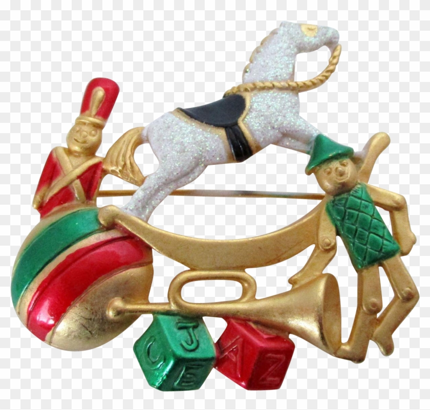 Ajc Christmas Toys And Rocking Horse Pin Vintage - Push & Pull Toy #289586