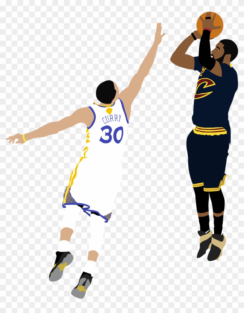 Illustration Of Nba Player Kyrie Irving Shooting A - Kyrie Irving Shot Over Curry #289649