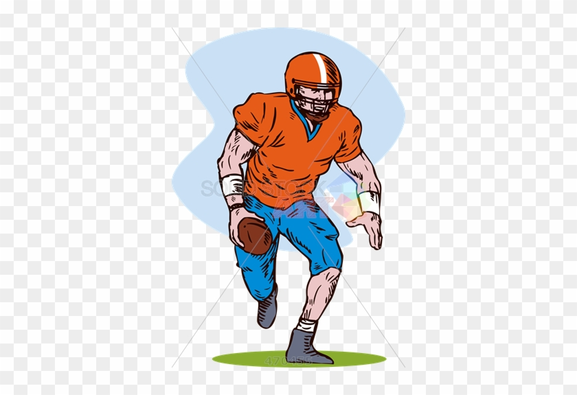Stock Illustration Of Old Fashioned Cartoon Rendering - Football Player #289701