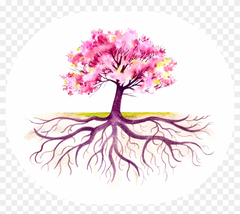 Blooming Tree With A Strong Root System Royalty Free - Fall Tree With Roots #289795