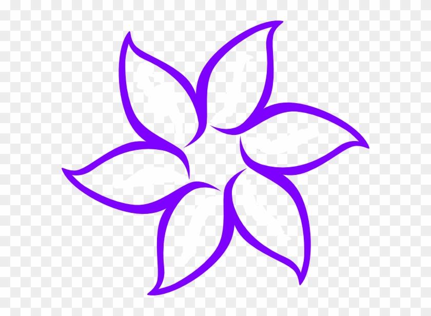 Purple Flower Outline - Flower Clip Art Black And White #289840