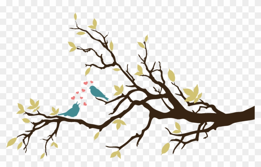 Bird On Tree Branch Drawing - Tree Branch Wall Stickers #290088