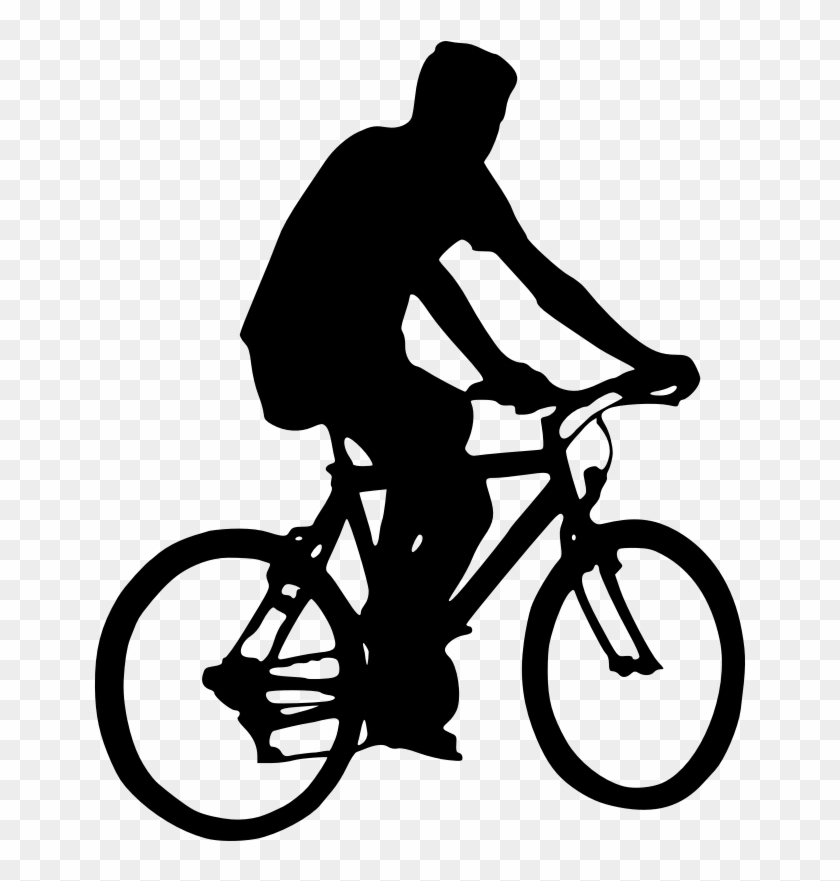 Bicyclist Silhouette Clip Art - Cycling Silhouette #290116