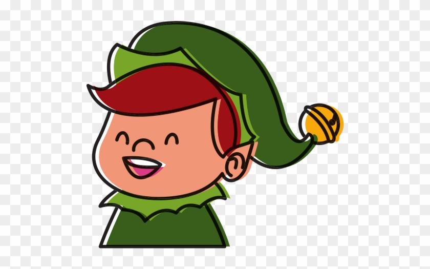 Cute Elf Face Christmas Cartoon - Cartoon #290217