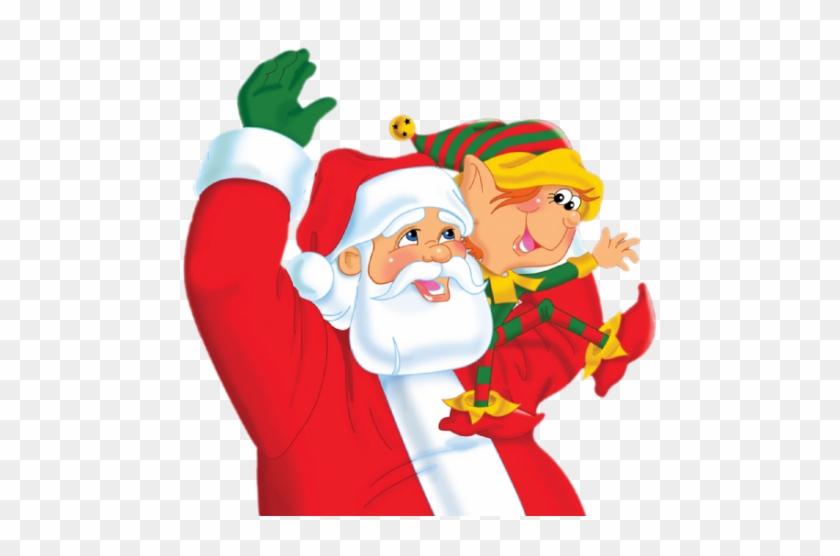 Santa And Elf Png Clipart - Santa And His Elves #290228