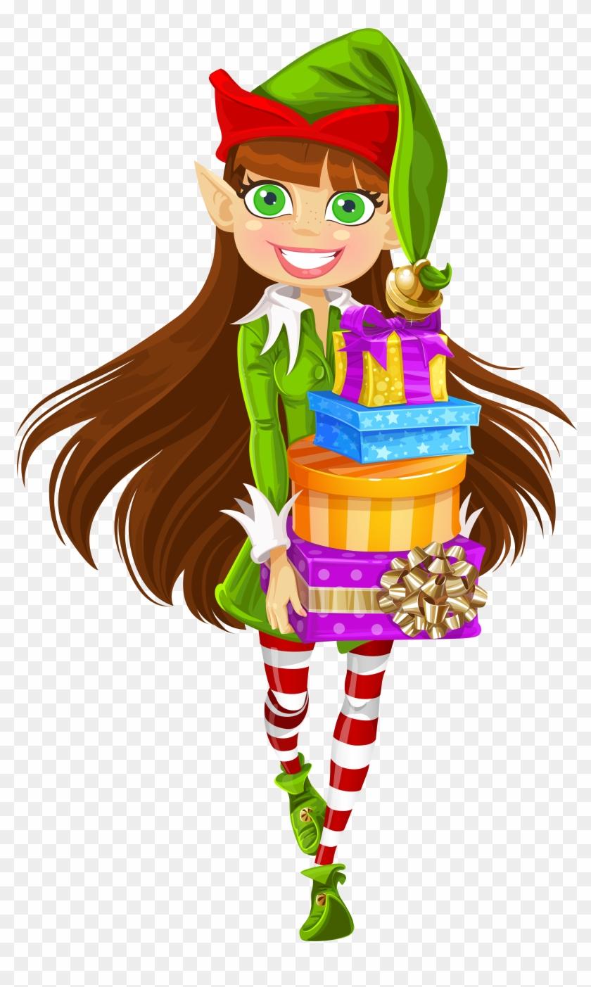 Girl Christmas Elves Clipart - Girl Elf #290273