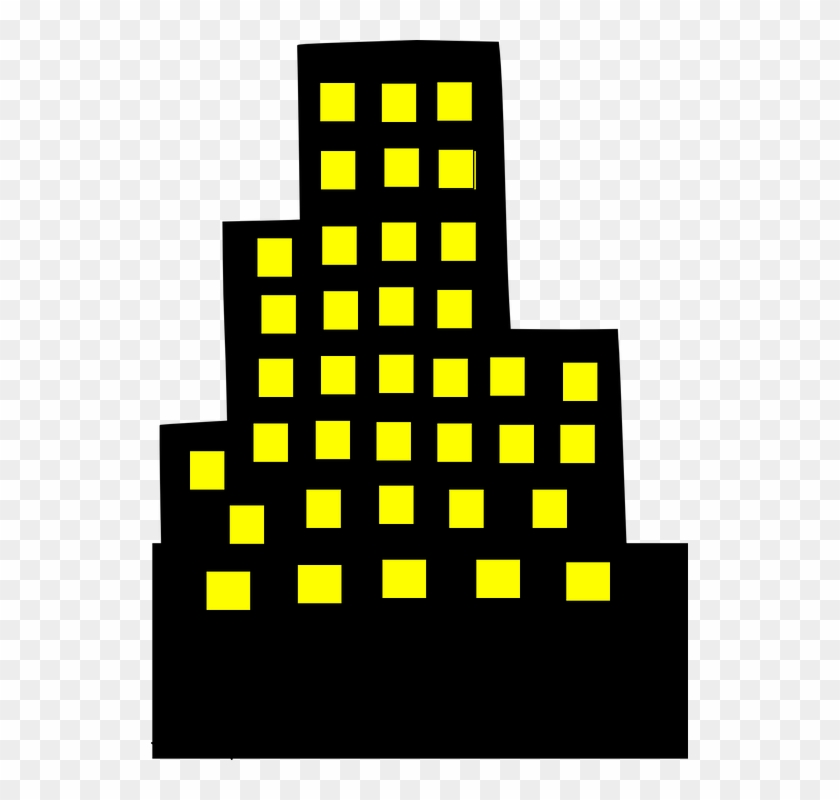 Architecture Clipart Downtown - Black Building With Yellow Windows #290289